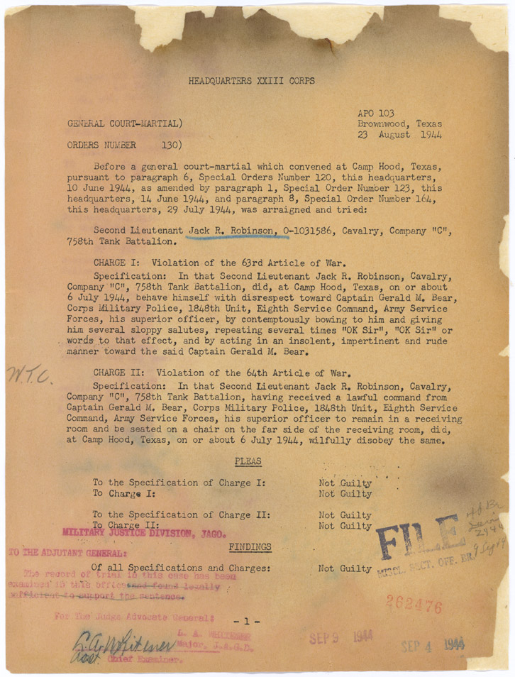 General Court Martial orders, 8/23/1944NRPA-O Job 09-A2-093_007_001