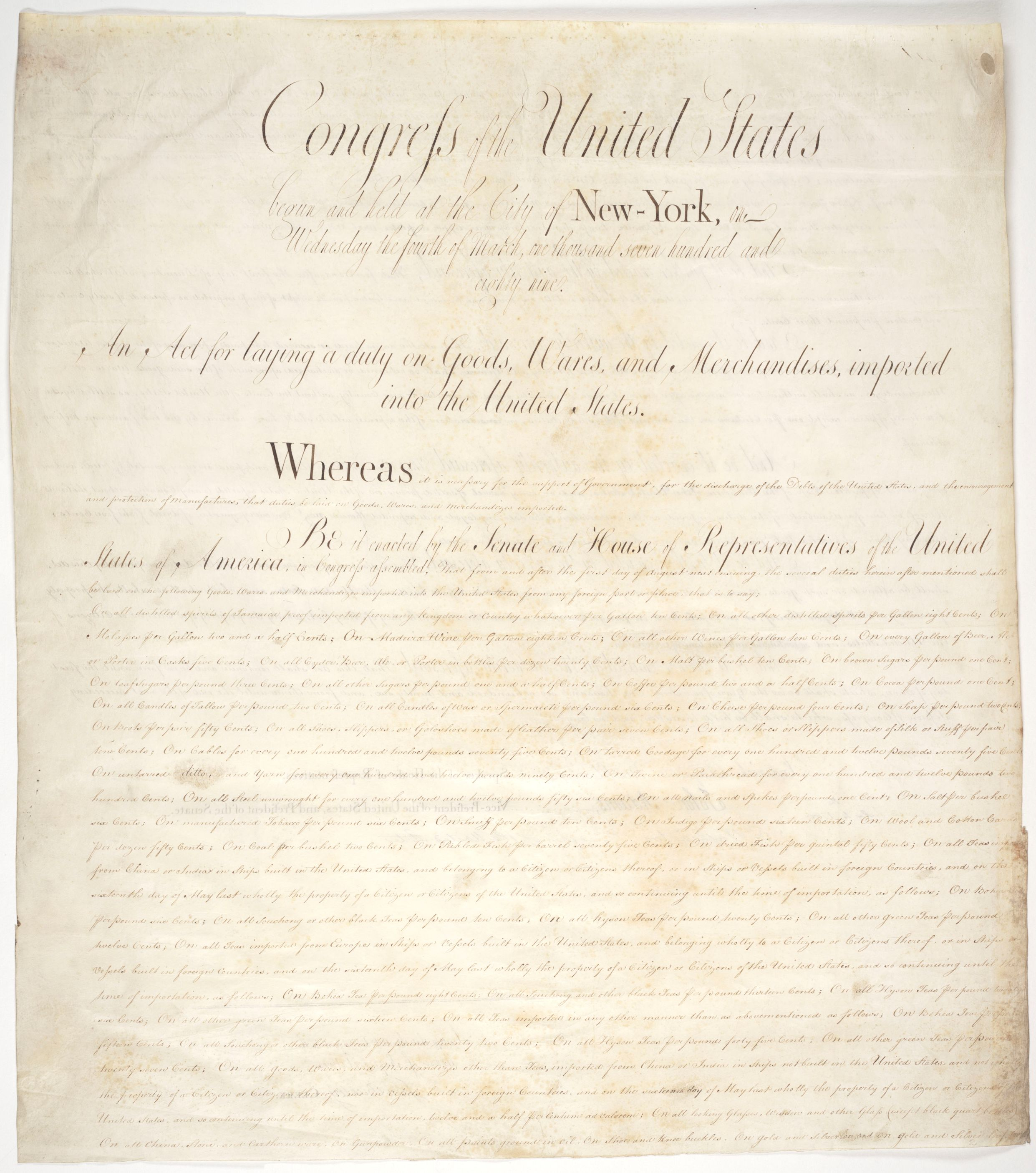 An Act for Laying a Duty on Goods, Wares, and Merchandises imported into the United States
