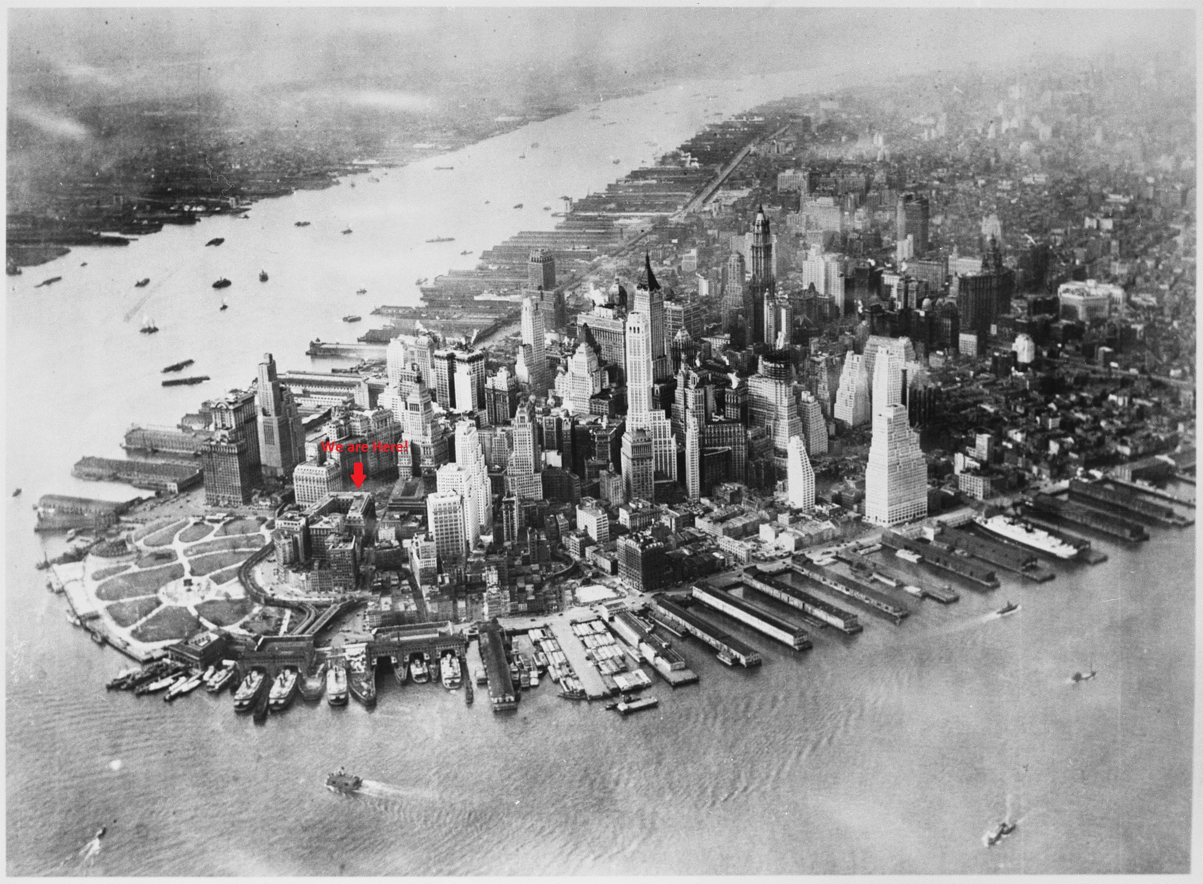 Aerial view of the tip of Manhattan, 1942 (modified)