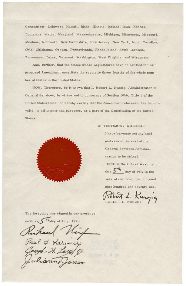The 1971 certification of the 26th Amendment