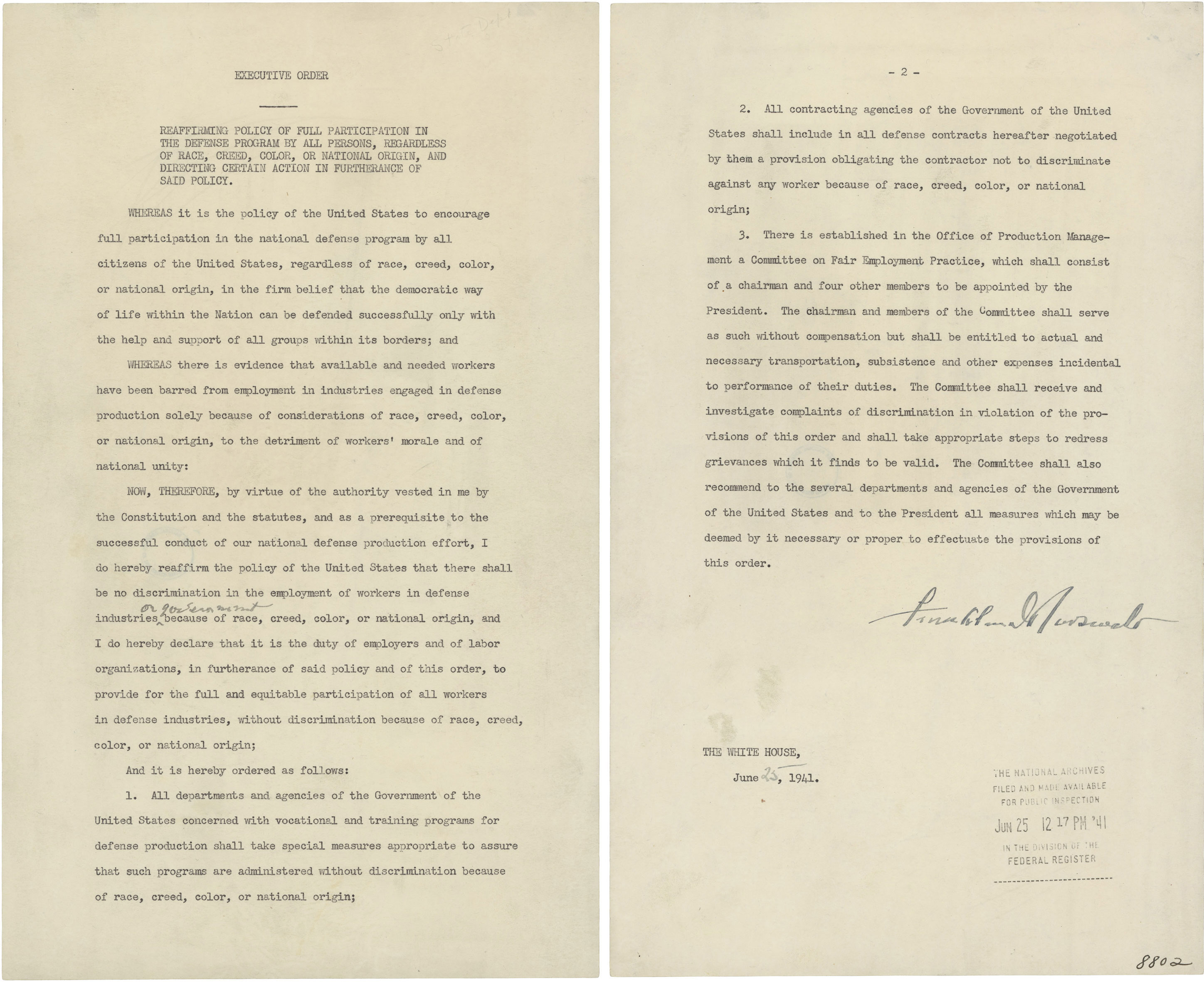 Executive Order 8802 in which President Franklin D. Roosevelt Prohibits Discrimination in the Defense Program