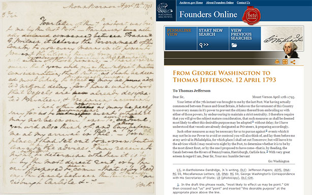 Letter from Washington to Jefferson and its transcription on Founders Online