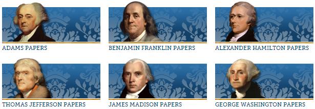 Images of John Adams, Benjamin Franklin, Alexander Hamilton, Thomas Jefferson, James Madison, and George Washington