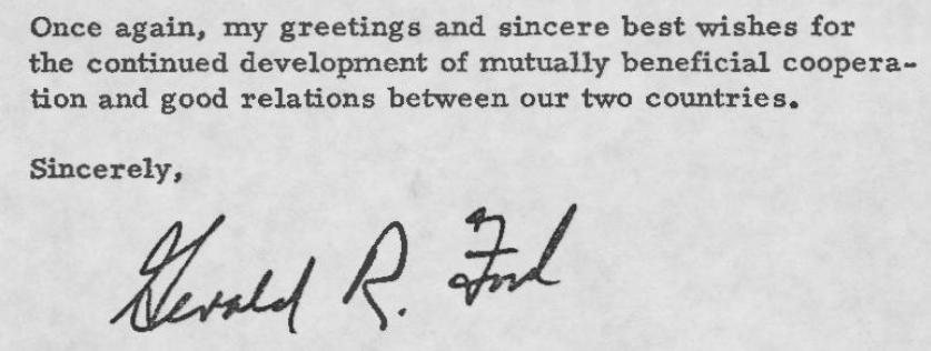 Letter from President Ford to Soviet General Secretary Brezhnev Regarding the Apollo-Soyuz Test Project