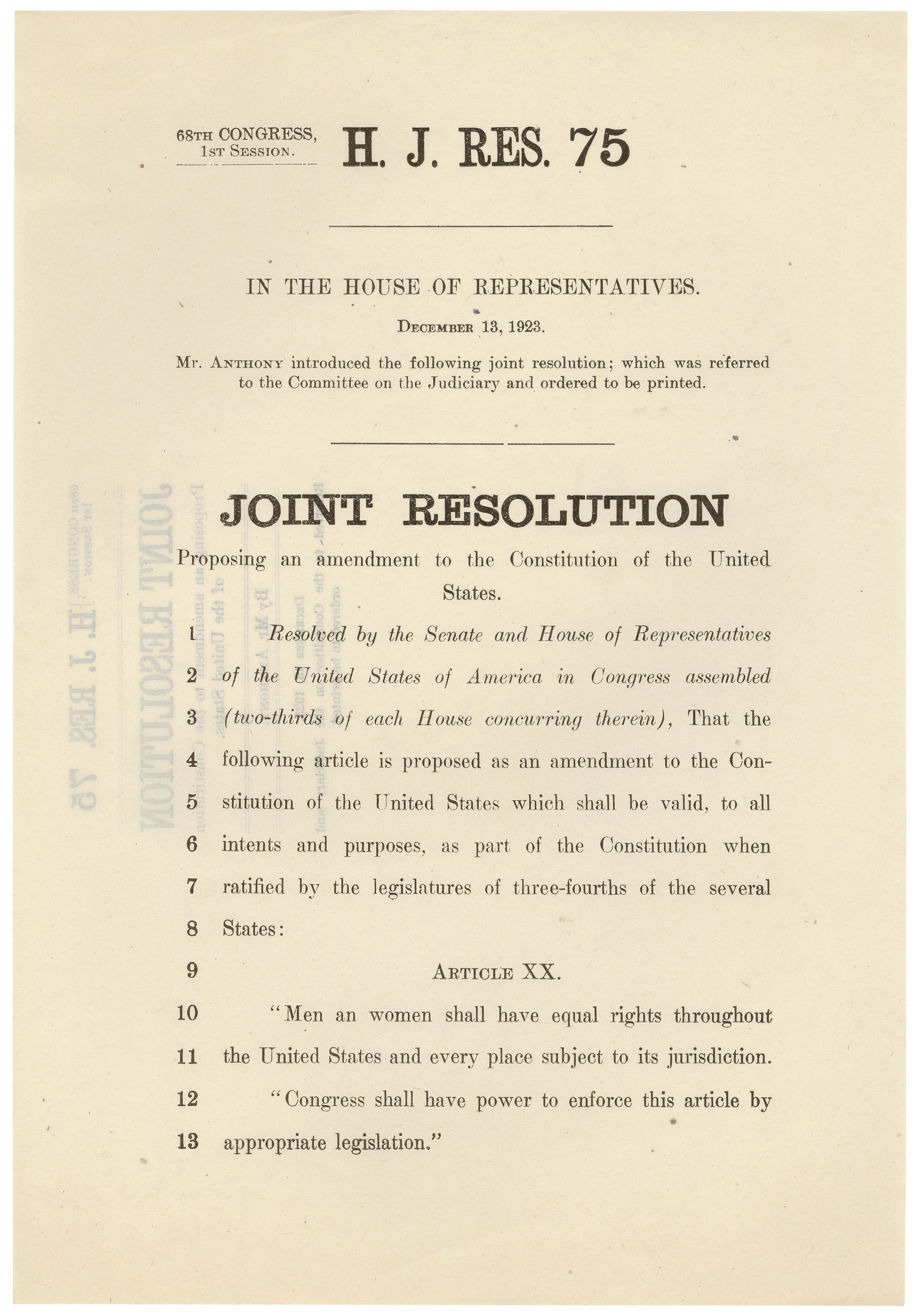 H.J. Res. 75, Proposing an Equal Rights Amendment to the Constitution, December 13, 1923. Records of the U.S. House of Representatives