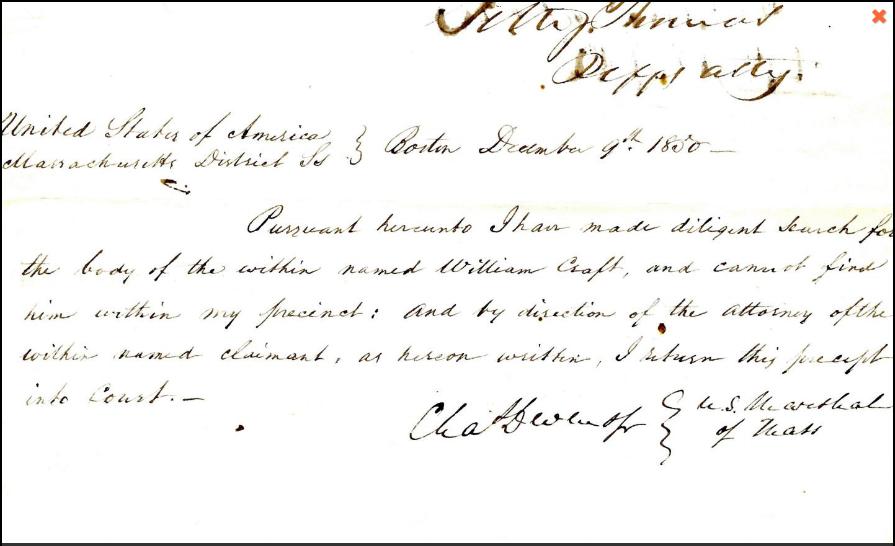 U.S. Marshal's Return of Writ to Apprehend William Craft