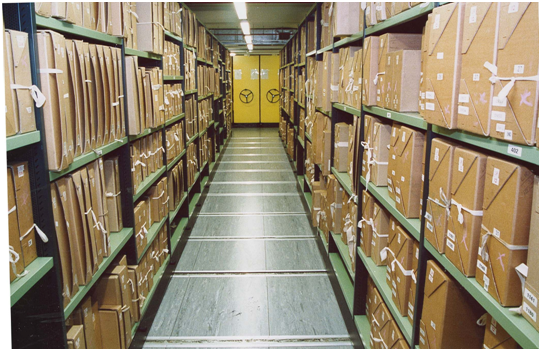 """""""Stacks"""" of documents in a facility of the National Archives"""