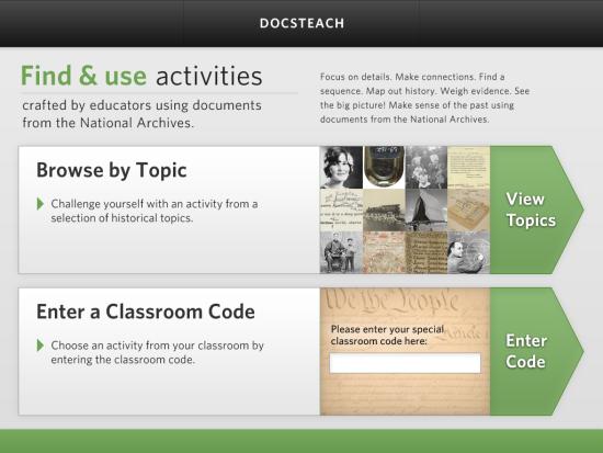 DocsTeach App Home Screen
