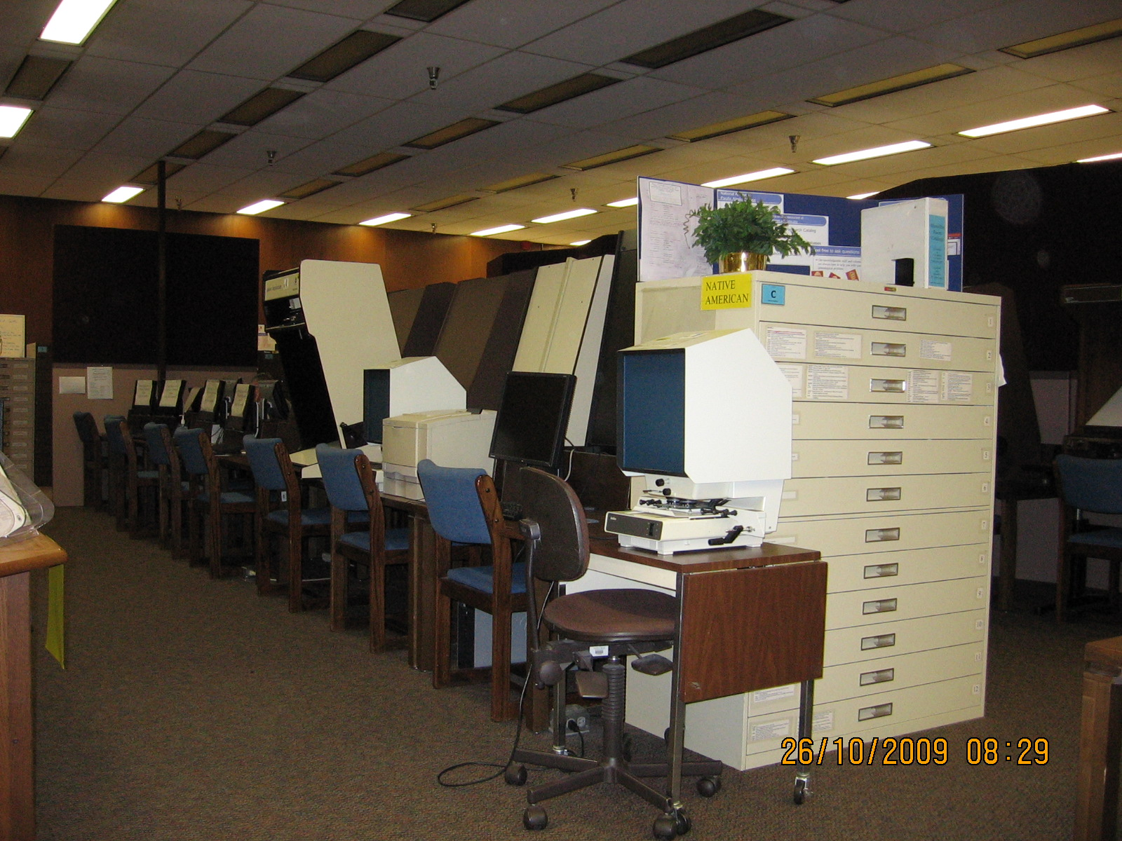 Microfilm Room and Attendant at the National Archives at Seattle