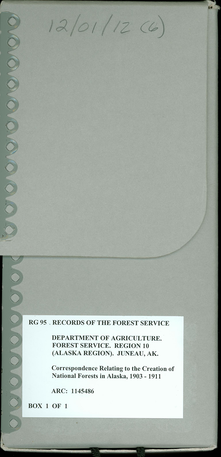 Archival file box from The National Archives at Anchorage.