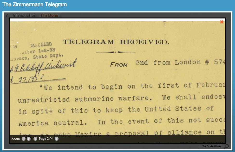 Zimmermann Telegram activity