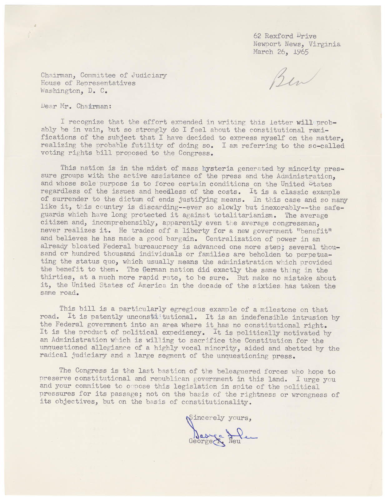 Letter from George Neu to the Chairman of the Judiciary Committee against the Voting Rights Act of 1965, March 26, 1965, Records of the U.S. House of Representatives. National Archives Identifier 2173238
