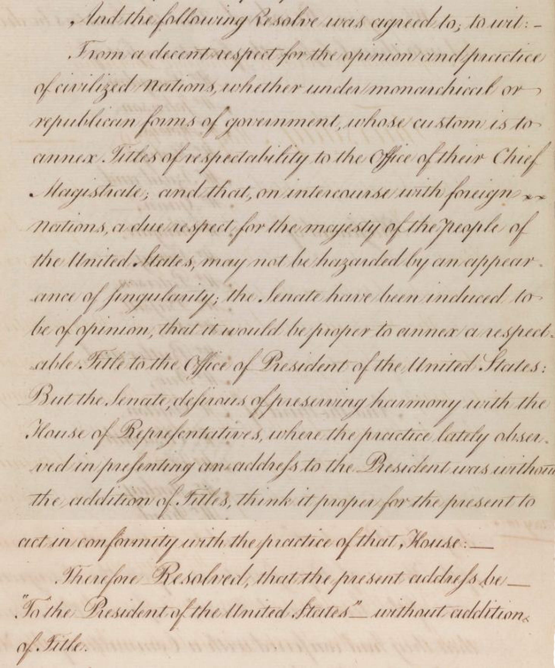 Senate Journal showing resolution on titles for the President, May 14, 1789; Records of the U.S. Senate
