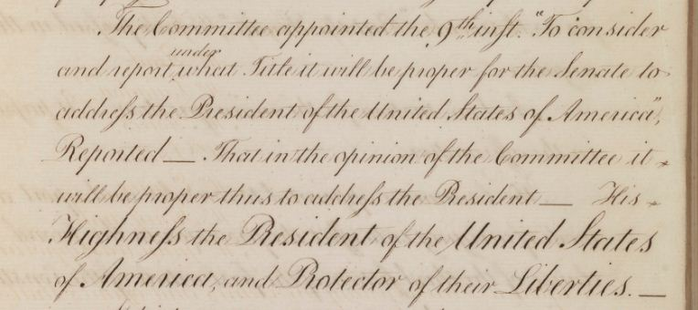 Senate Journal showing report on titles for the President, May 14, 1789; Records of the U.S. Senate. View full page.