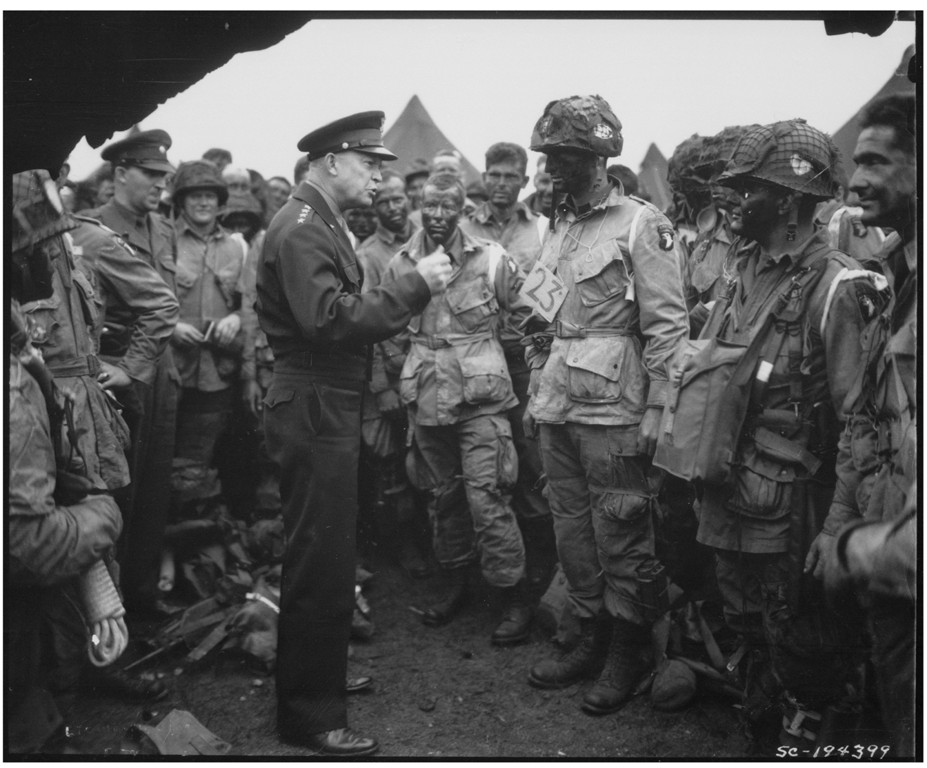 Photograph of General Dwight D. Eisenhower Giving the Order of the Day