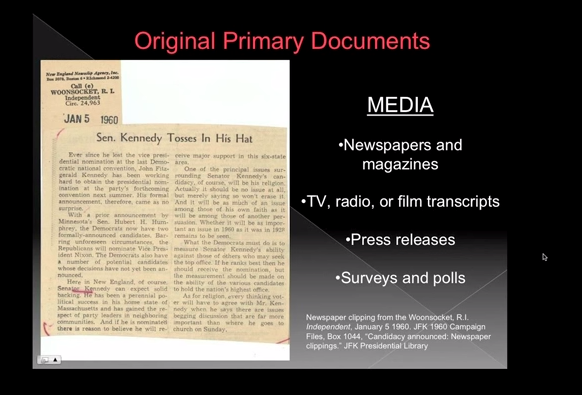 Screen Shot from Using Primary and Secondary Sources