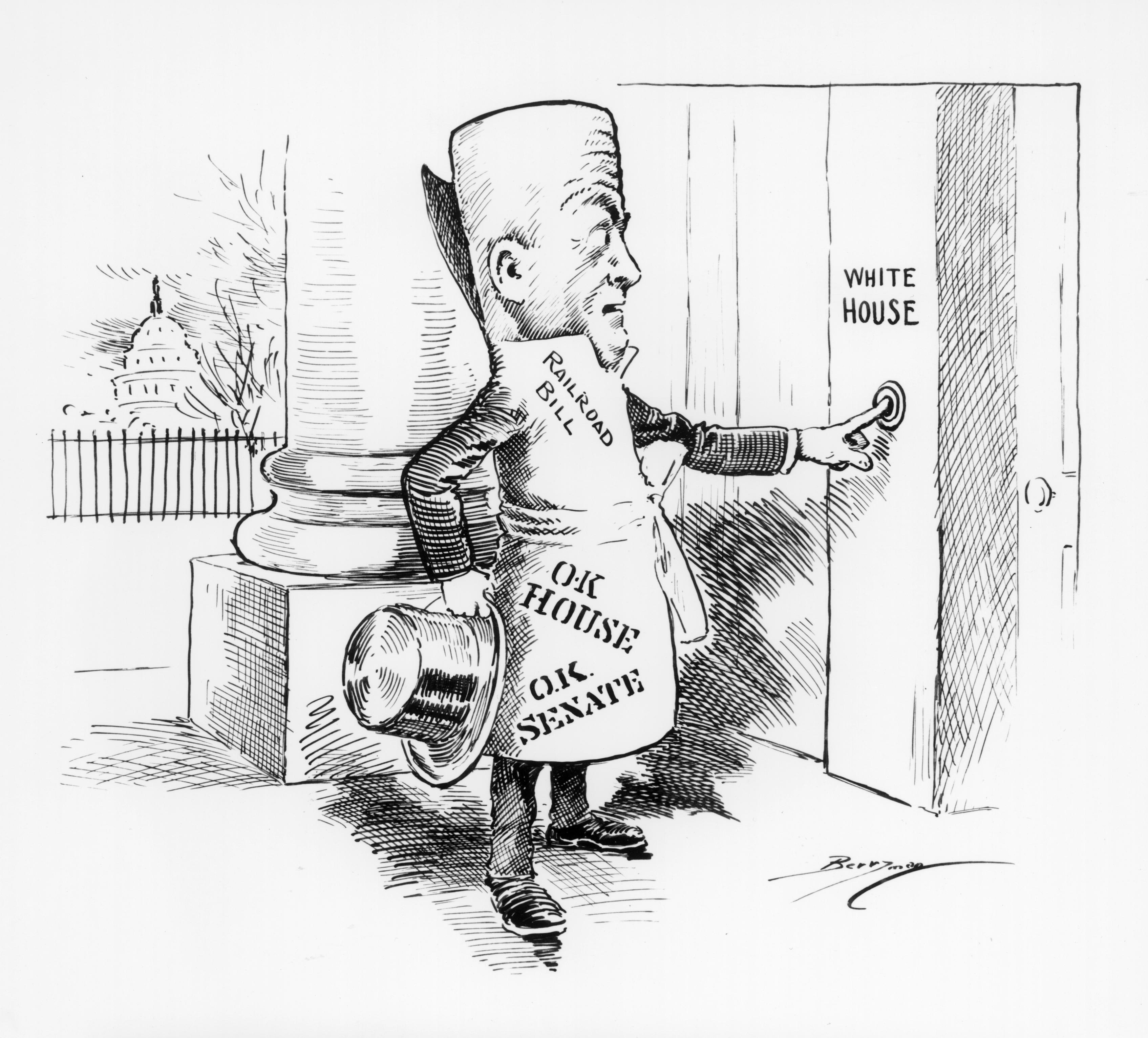"""A rolled up """"railroad bill"""" caricature, with top hat in hand and O.K. stamps from the House and Senate, rings the White House doorbell."""