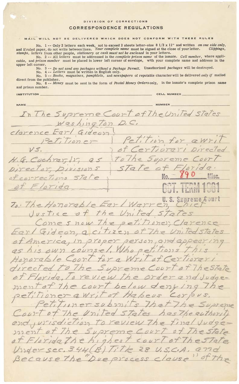 Petition for a Writ of Certiorari from Clarence Gideon to the Supreme Court of the United States, January 5, 1962, Records of the Supreme Court of the United States. NAID 597554.