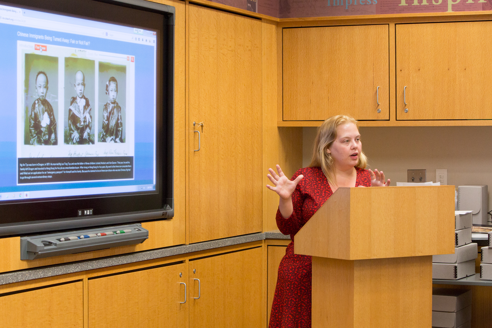 A teacher presents the online DocsTeach activity she created using National Archives documents.