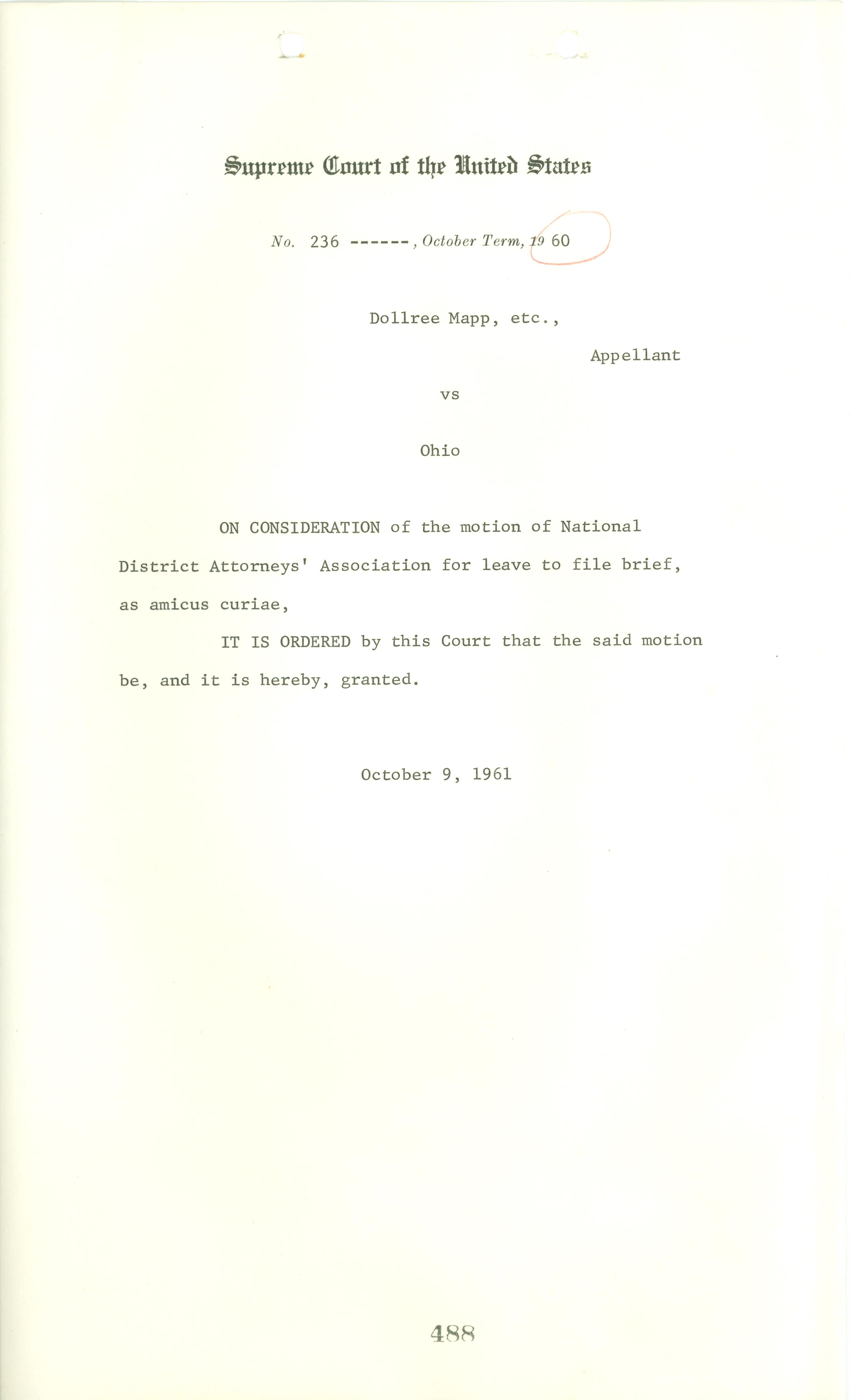 Amicus curiae submitted to the Supreme Court in Mapp v. Ohio, October 9, 1961, Records of the United States Supreme Court.