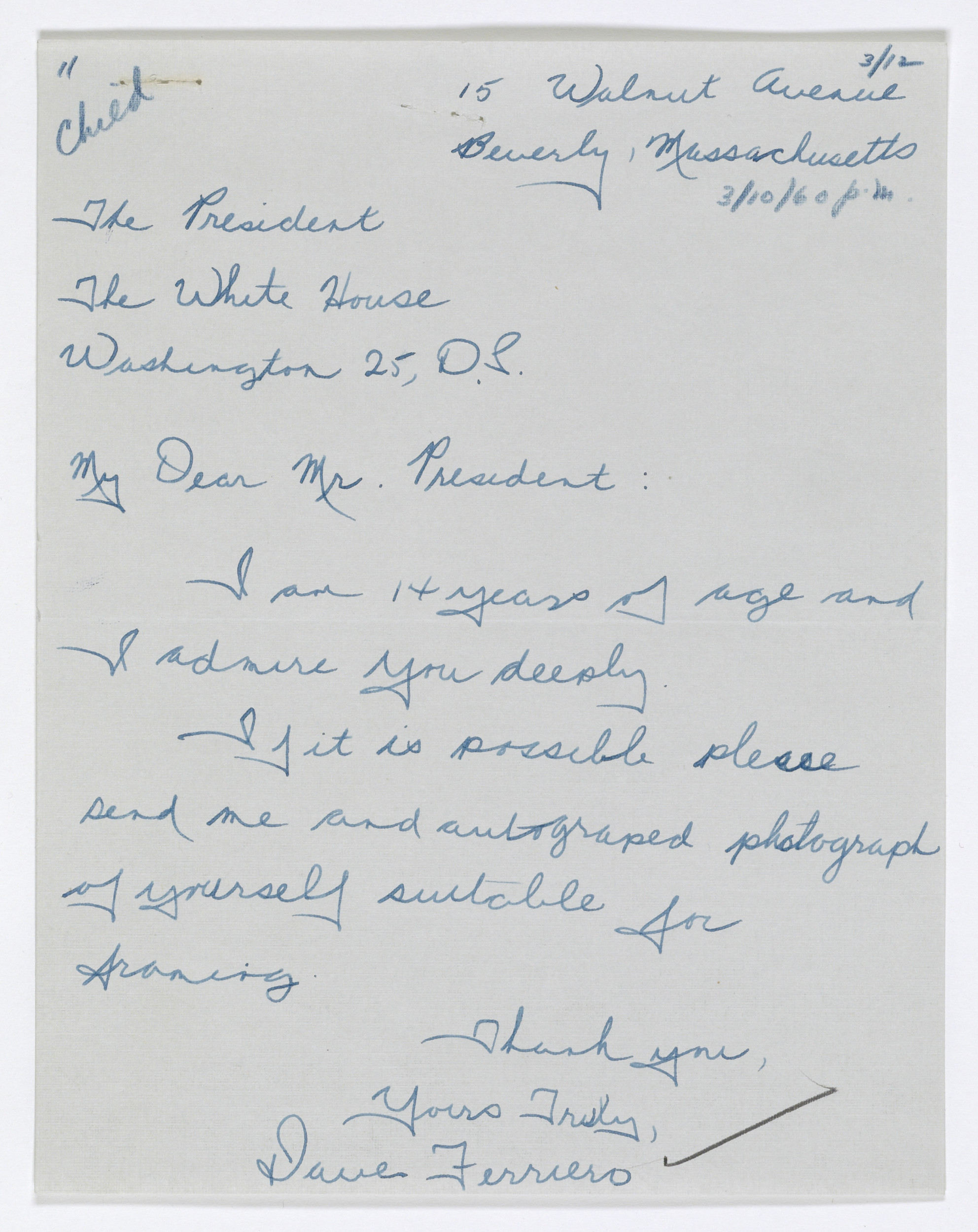 This is one of many letters Archivist of the United States David Ferriero wrote to the president as a boy. Letter from David Ferriero to President Eisenhower, 3/10/1960. From the Collection DDE-WHCF: White House Central Files (Eisenhower Administration).
