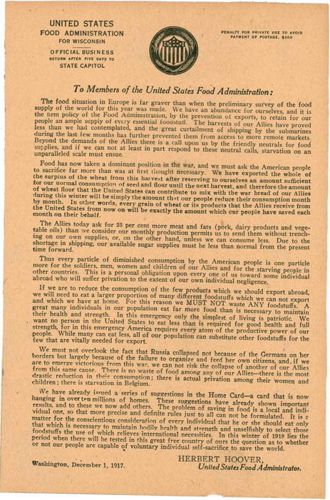 United States Food Administration Additional Directions to First Home Card
