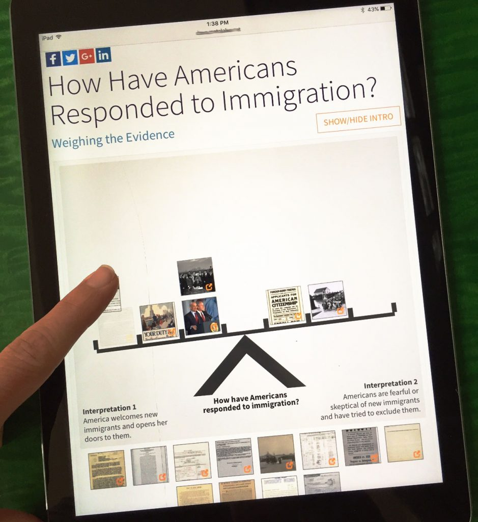 """iPad with activity """"How Have Americans Responded to Immigration?"""""""