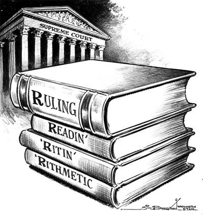 Books saying Ruling, Readin', 'ritin', 'Rithmetic