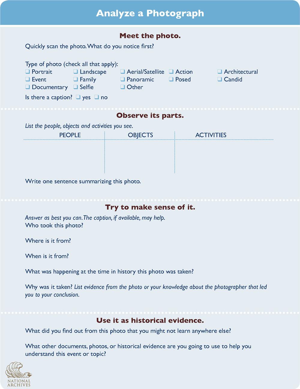 Photo Analysis Worksheet