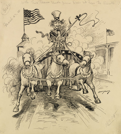 Uncle Sam driving horses