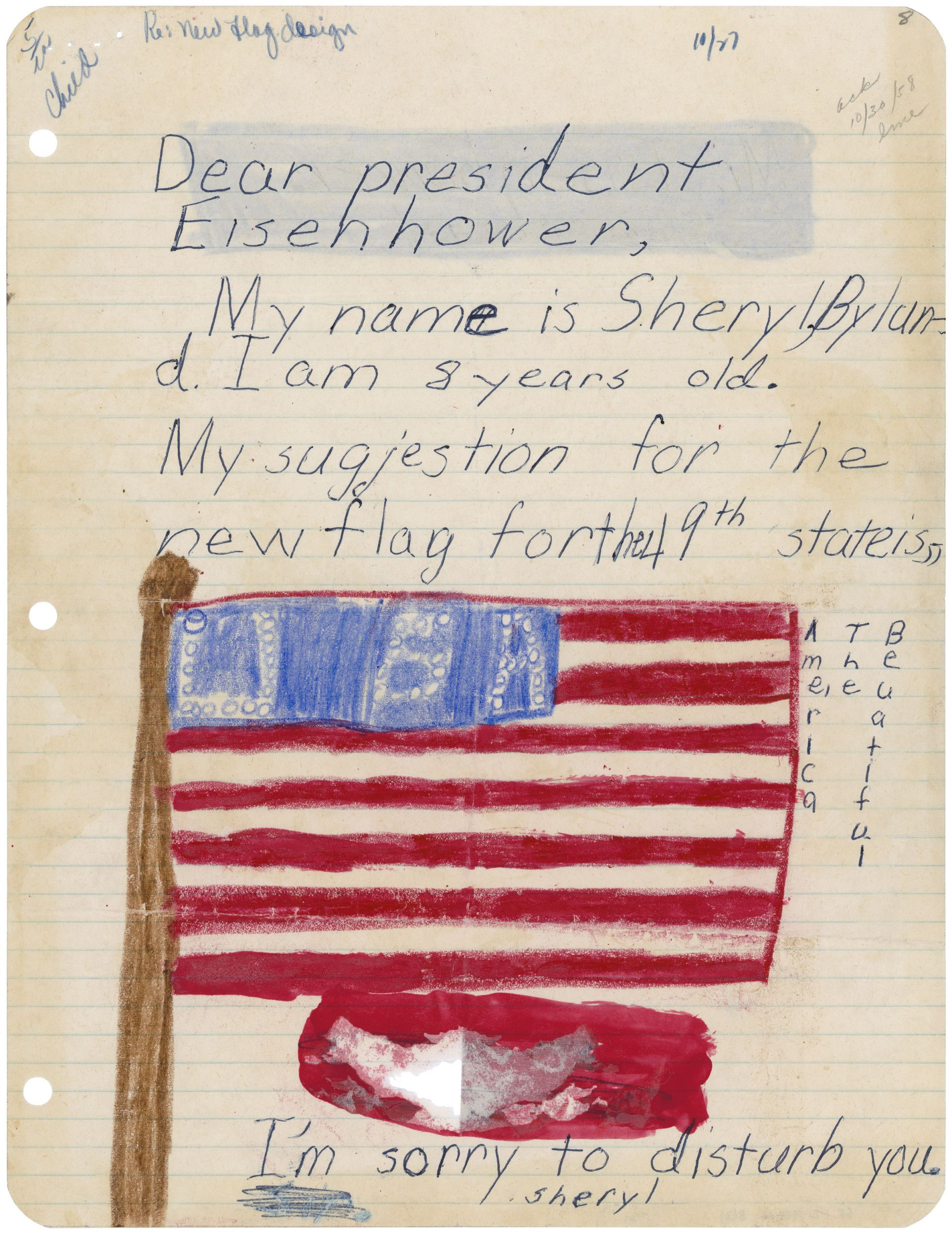 Letter with drawing of flag