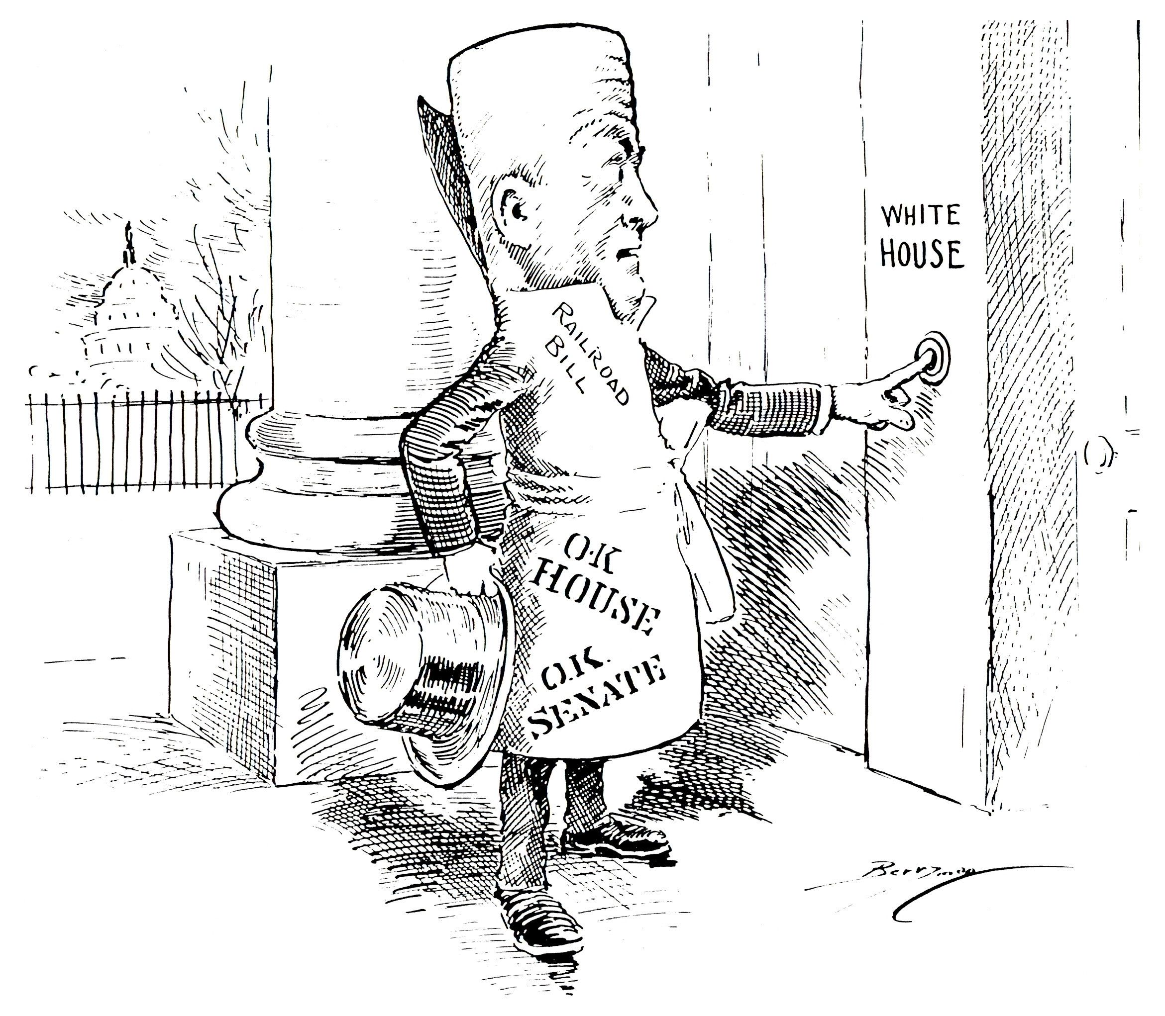 Bill ringing the White House doorbell