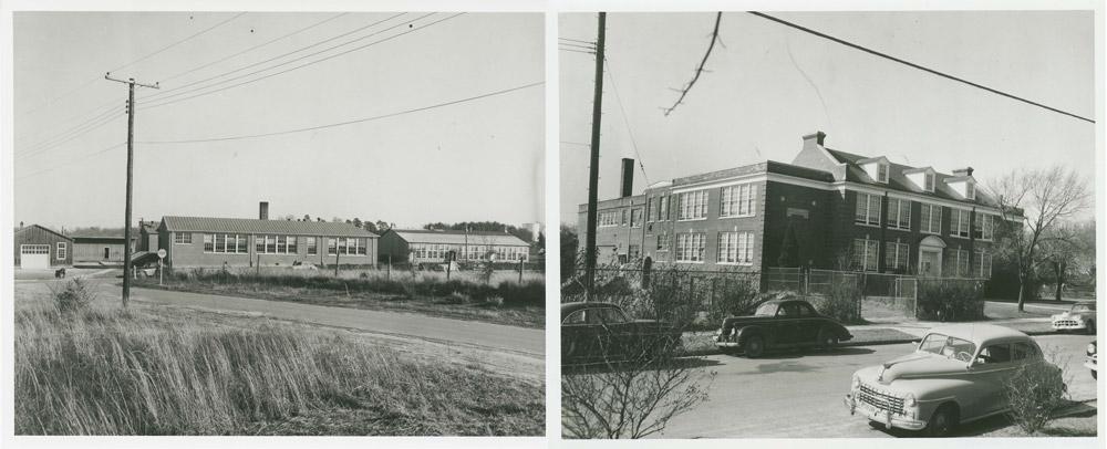Exterior views of Moton and Farmville high schools