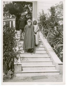 Mr. Rabindranath Tagore with Captain S. W. Chaudhari, his Physician, and Mrs. Pratima Tagore, his Daughter-in-Law at the Exit of their Cap Martin Property