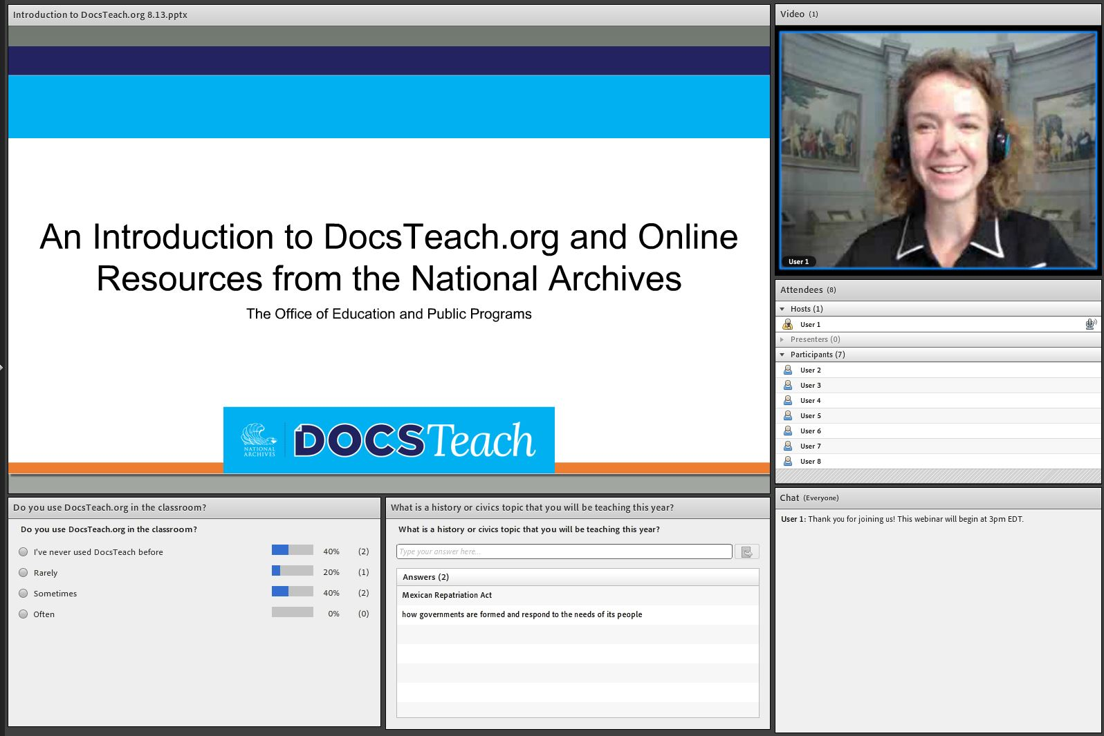 DocsTeach webinar interface