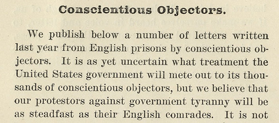 Selection of The Masses about Conscientious Objectors