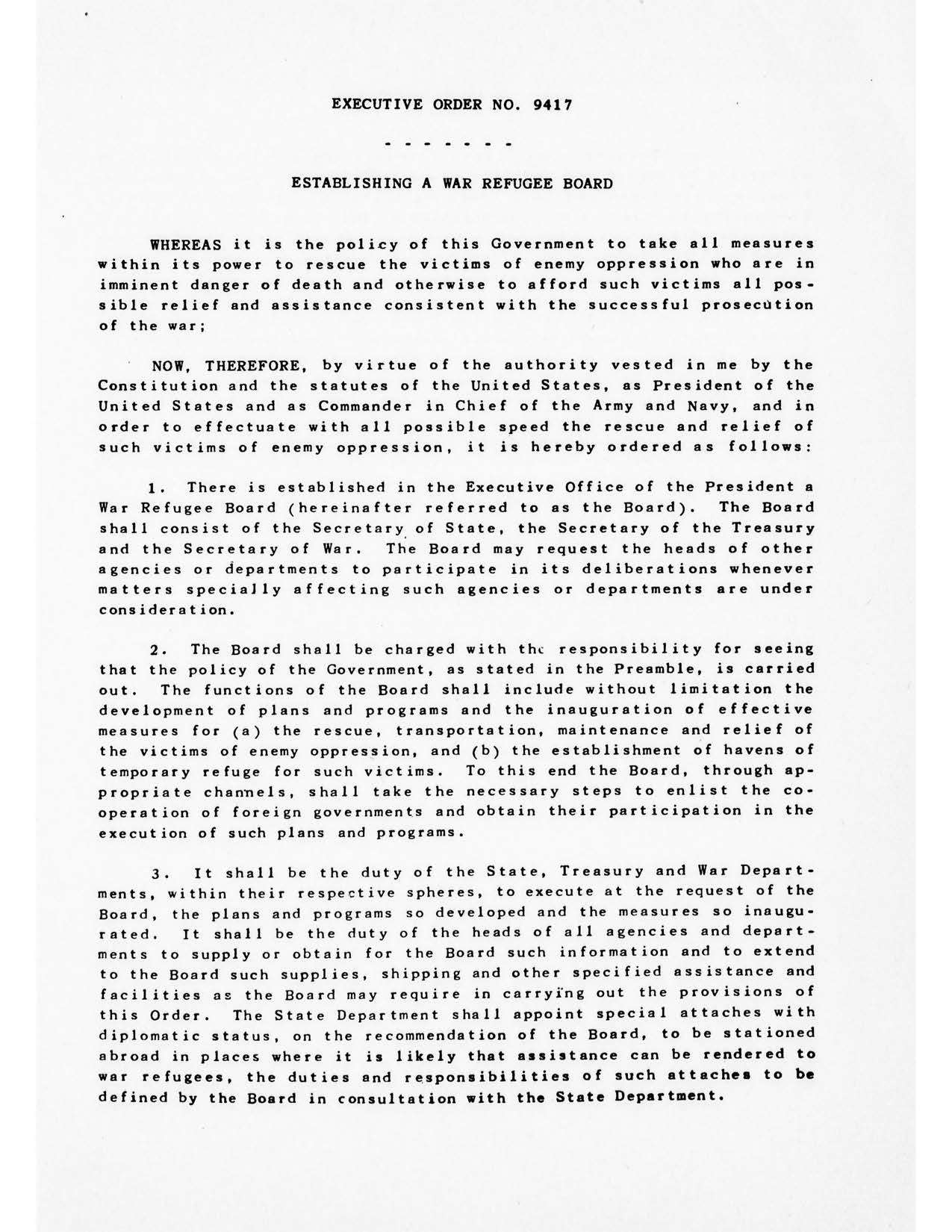 Executive Order No 9417 Establishing a War Refugee Board