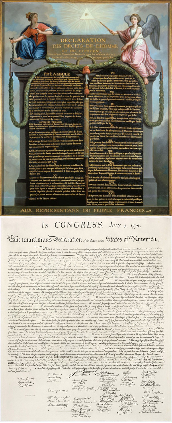 French Declaration of Rights of Man and Citizen on top and American Declaration of Independence on bottom