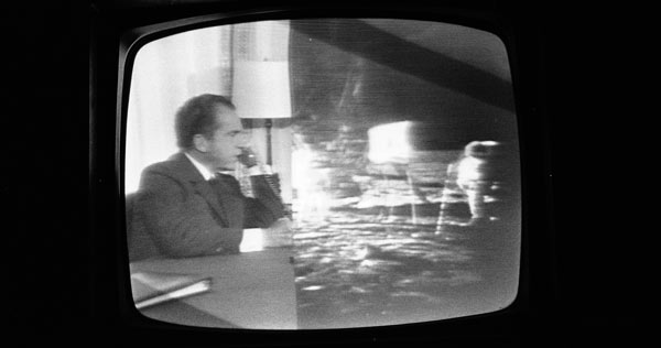 Split television screen Nixon on the phone and astronauts