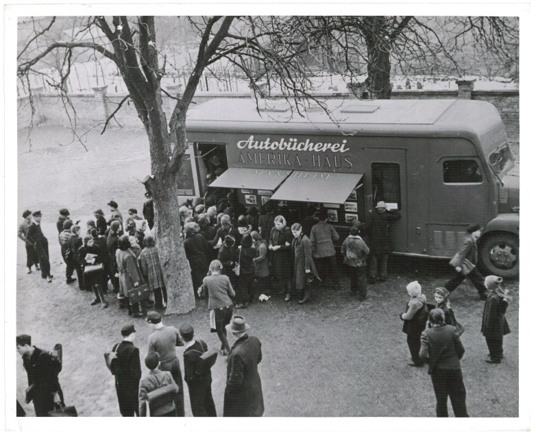 Residents Visit a Bookmobile in Mannheim, Germany