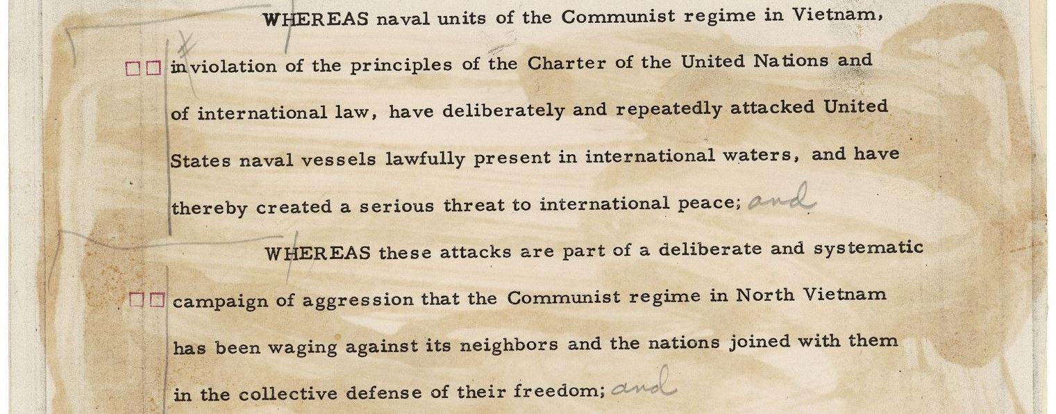 Excerpt of Gulf of Tonkin Resolution