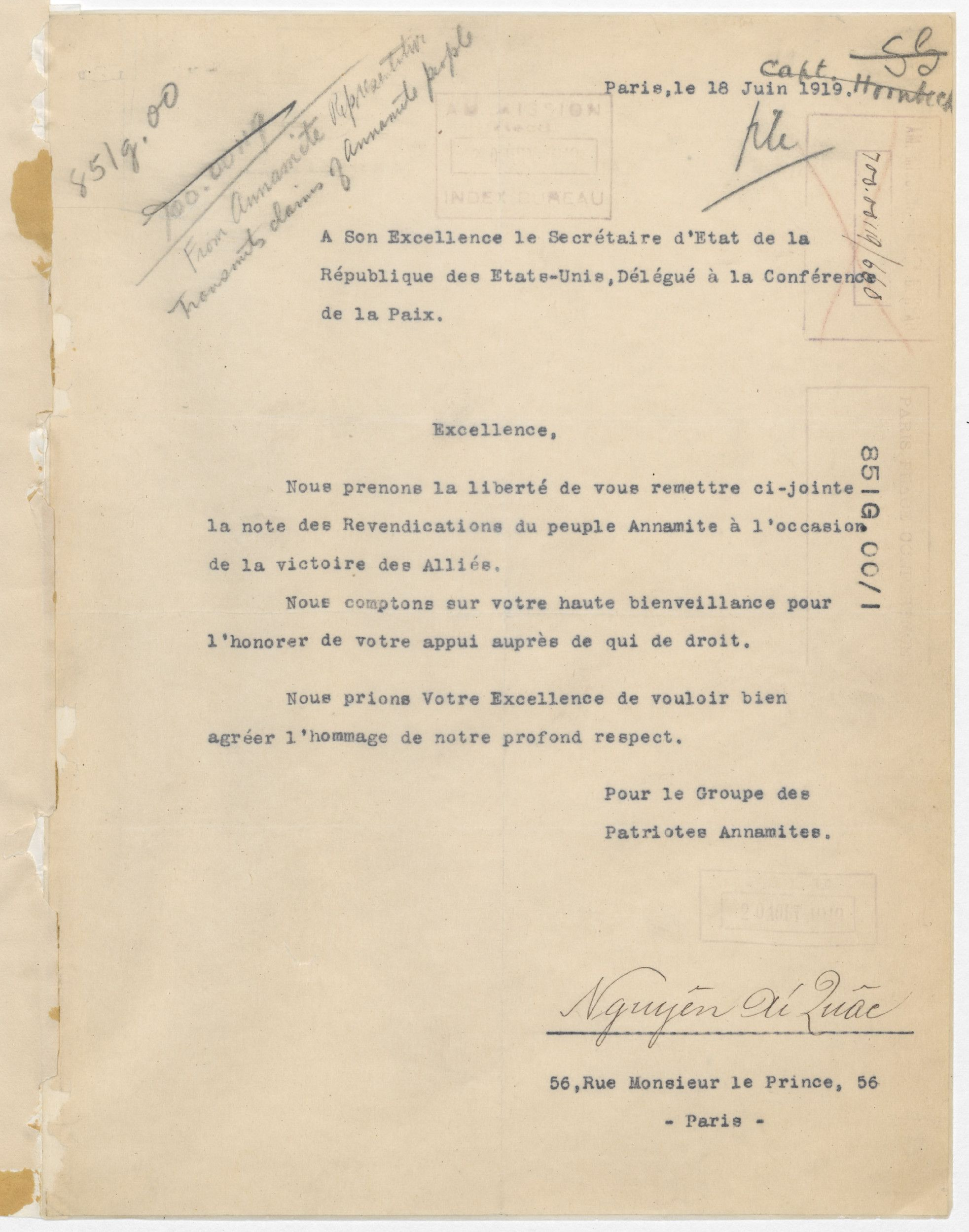 Letter from Ho Chi Minh to Secretary of State Robert Lansing