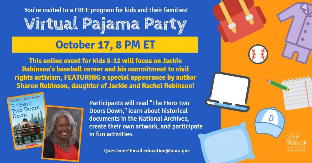 You're invited to a free program for kids and their families! Virtual Pajama Party October 17, 8 pm ET