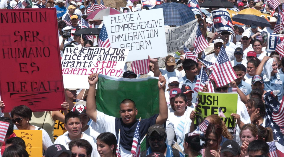 People at a demonstration with signs