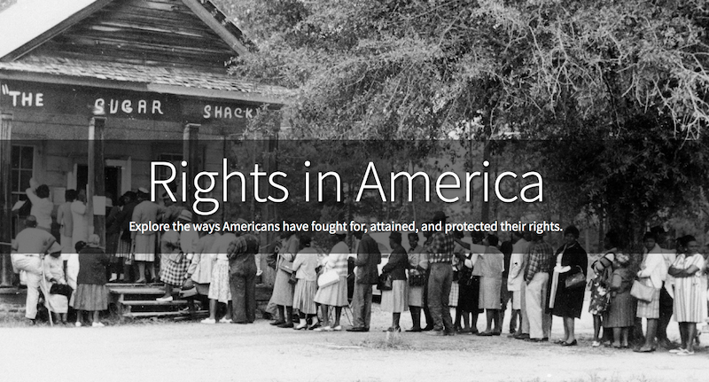 Rights in America, overlaid on top of image of people waiting in line to vote