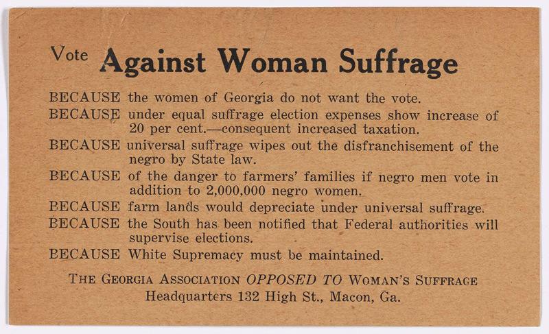 Vote Against Woman Suffrage